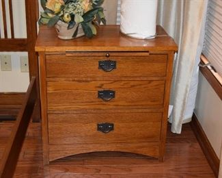 Side Table W/Drawers, Lamp, Floral Piece