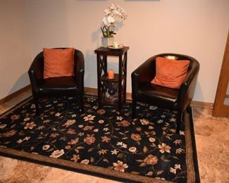 Leather Club Chairs, Pillows, Accent Table, Home Decor, Area Rug