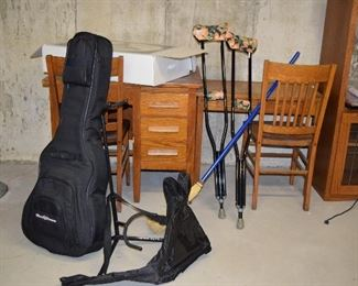 Guitar, Guitar Stand, Desks, Chairs, Crutches