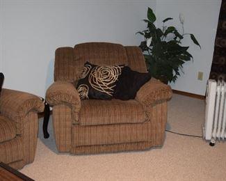 Side Chair, Pillows, Silk Plant, Portable Heater