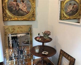 Oil painting, chandelier, 2 tier table,  La Barge Mirrior