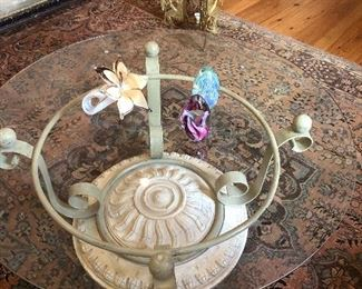 Coffee table, Murano glass flower & glass paperweights
