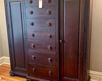 "Beautiful highboy wardrobe.  Measures 83"" x 66"" x 18""."