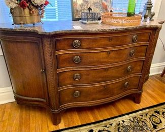 "Century Furniture marble top buffet.  Measures 76"" x 20"" x 39""."