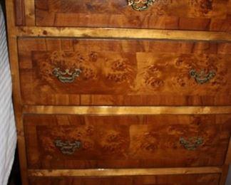 Burled walnut nightstands (2)