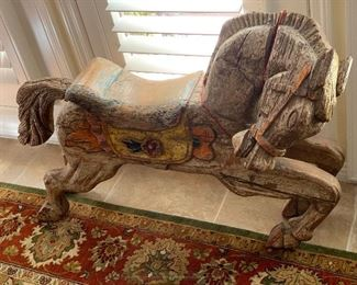 Antique Mexican hand carved carousel horse