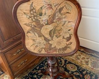 """Antique Fireplace Screen Floral Scene Needlepoint Mahogany Wood 41.5"""""""