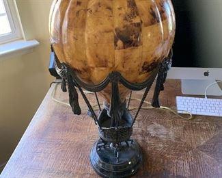 Maitland Smith Penshell Crackle Balloon lamp, Verdigris Bronze, Patina Mounts green marble base, Dim 14 x 14 X 27