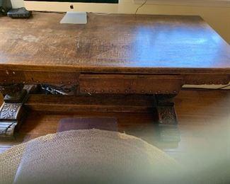 Spanish oak top trestle desk, 19th century ( 1800s )