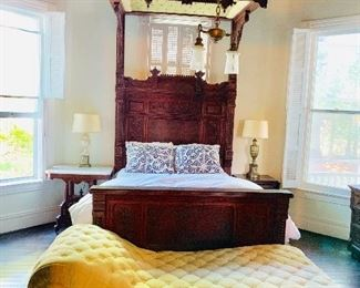 Beautiful half tester antique bed.