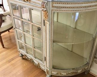 Glass chest w/marble top