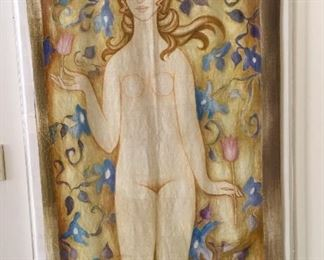 Watercolor on fabric (uncigned) in lucite case/frame