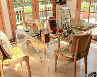 Lucite table with Mid-Century Haywood Wakefield chairs (6)