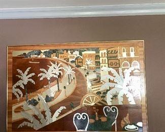 Douglas Wilgus inlaid marquetry wall art