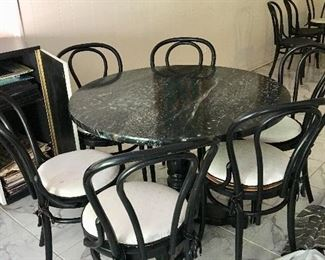 Faux painted pub table (six ice cream parlor chairs sold separately)