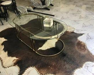 MCM coffee table on hide rug