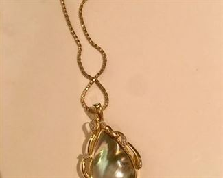15kt mabe pearl, diamonds on 14kt chain