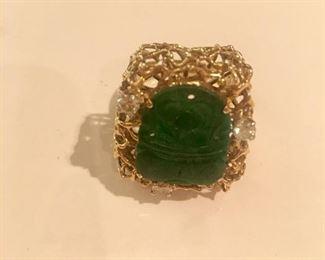 14kt, jade and diamond ring