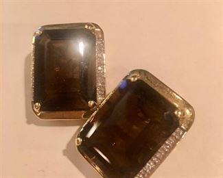 Smokey quartz/14kt/diamonds