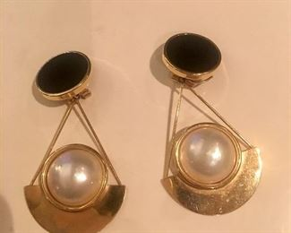 14kt/mabe pearl/onyx