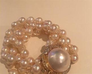 14kt mabe/fresh water pearl/diamond bracelet