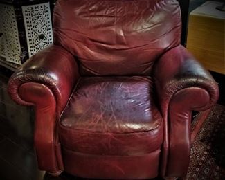 Dark Red Leather Arm Chair