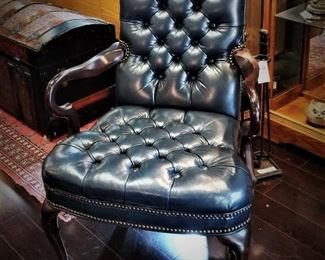 Blue Tufted Leather Arm Chair