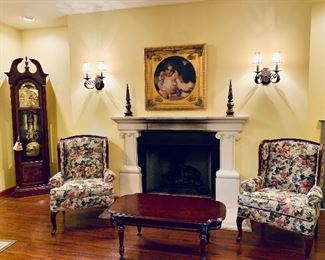 Floral upholstered Chairs, Coffee table, Grandmothers Clock