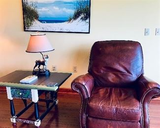 Leather Recliner with Brass tacks, Ethan Allen Painted Table, Large Lake Michigan Picture, Bulldog Lamp