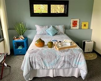 Full Size Bed, Blue Night Stand, Beautiful Bedding