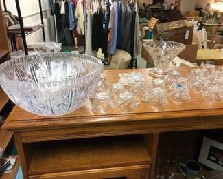 Glass Punch Bowl Set with Glasses