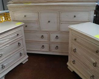 dresser with mirror, matching nightstands and queen bed frame