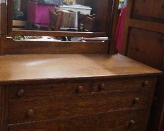 oak bureau with mirror