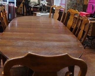 drop leaf table with leaves and 6 chairs