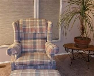 Wing back chair and ottoman, part of three pc set for $150.00