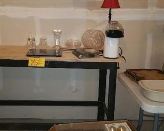 Work bench: $50.00; new LED floodlights, puzzles, glassware, Christmas ornaments, more