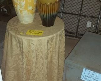 Small table w/tablecloth $10.00; fireproof safe, locked for FREE. Unable to open, supposed to be empty....