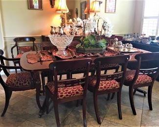 Kittinger Mahogany Dining Table w/10 Chairs                        Beautiful Custom Floral Centerpiece                                              Vintage Prescut Punch Bowl on Stand