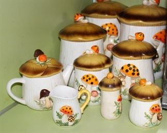 Mushroom Canister set, tea pot, creamer and sugar