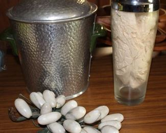 Marble grapes, glass shaker and Hammered aluminum ice bucket