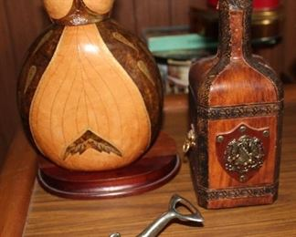 Leather wrapped decanters, dolphin can/bottle opener
