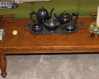 Maple coffee table, silver plated tea/coffee set
