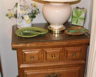 Dise table with lamp, retro ash trays