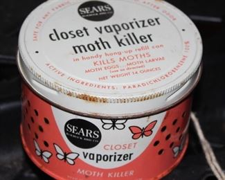 Vintage moth killer tin