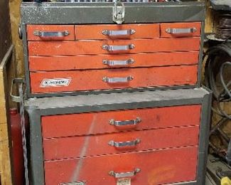 Vintage Montgomery Ward tool chest.  Full of many Sears Craftsman tools