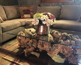Custom Made Burl Wood Coffee Table