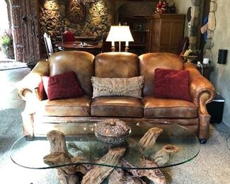 Queen Leather Sofa Sleeper and Custom Made 100 yr. old Grapevine Coffee Table