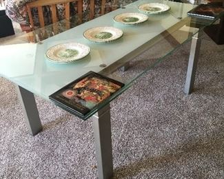"""Scandinavian  Concepts 5'6"""" glass table expands to 8' long......Cost $3000.oo  ……...you pay $850..."""