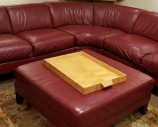 Ox Blood Red Leather Sectional and Ottoman