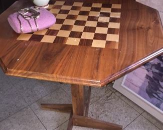 Hand made walnut game table